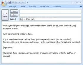 e mail message out of office reply formal