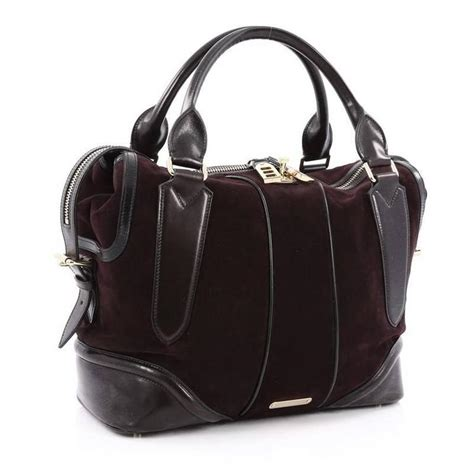 Burberry Top Zip Hobo by Burberry Zip Top Satchel Suede With Leather Large For Sale