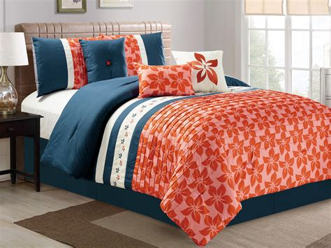 blue and orange comforter set 7 pc orchid tree flower pleated embroidery comforter set