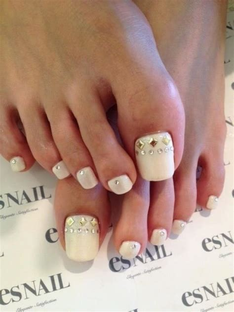 wedding toe nail art design white on white french pedicure manicures and pedicures bride s bridal look 2065668