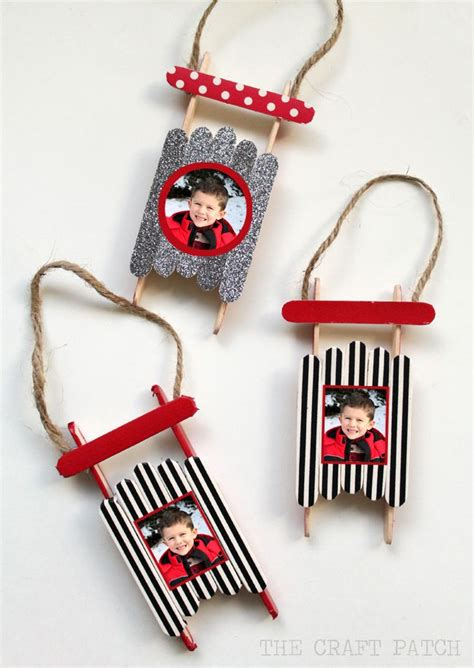 popsicle stick sled ornament with photos perfect craft