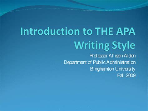 Introduction To Apa Writing Style Docslide How To Use Apa Format In Powerpoint