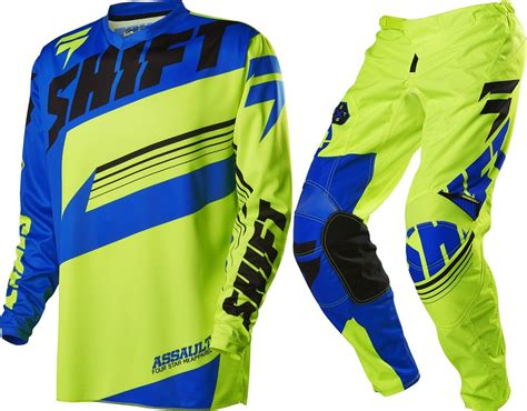 motocross jersey sale new shift youth mx gear assault yellow blue motocross kids