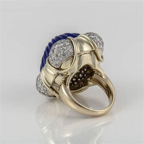 large carved lapis gold ring for sale at 1stdibs