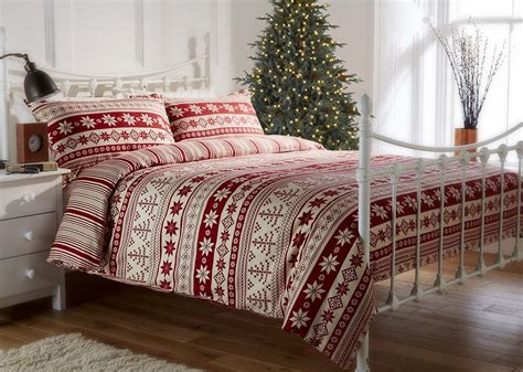 best white sheets 100 brushed cotton flannelette nordic print duvet set in red lancashire textiles