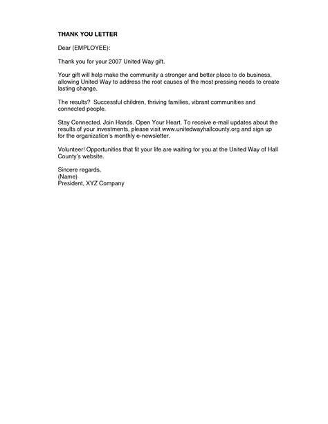 Thank You Letter Template To Employer best photos of employee thank you letter exles thank