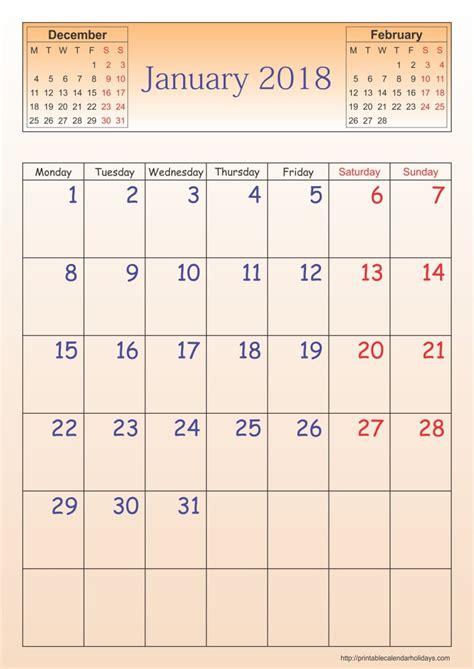 january 2018 calendar printable template usa canada with holidays