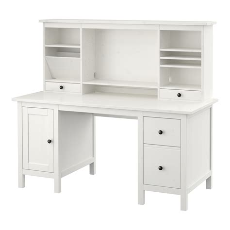 Hemnes Desk With Add On Unit White Stain 155x137 Cm Ikea Desk Ikea