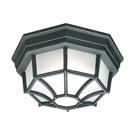 Outdoor Flush Mount Light Fixtures Philips Outdoor Essentials 1 Light Outdoor Flush Mount Black Ceiling Fixture Sl7457 The Home Depot