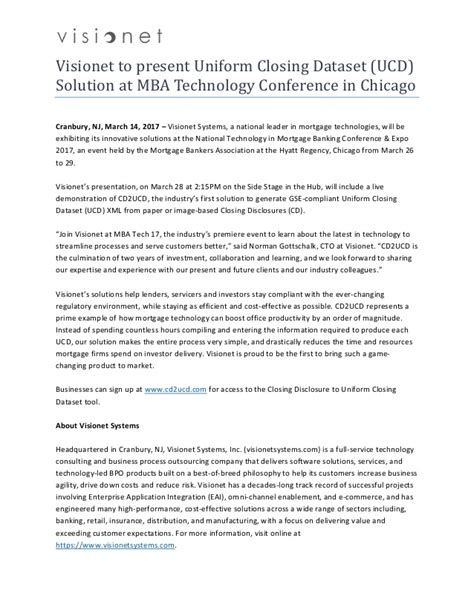 Mba Tech Inc by Visionet To Present Closing Dataset Ucd Solution
