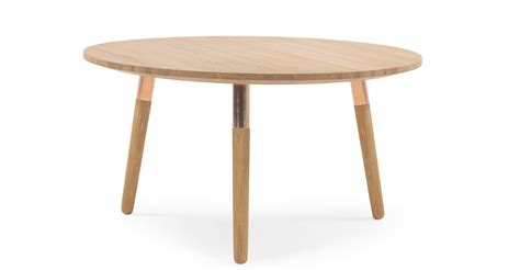 Range Round Coffee Table Solid Oak And Copper Made Com Range Coffee Table