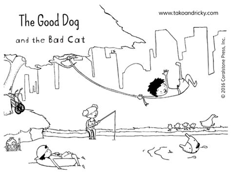 bad cat coloring page play the good dog