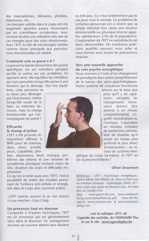 Sante Magazine Juillet 2012 Antistress Eft Techniques De Libert 233 233 Motionnelle eft dans agendaplus belgique avril 2010
