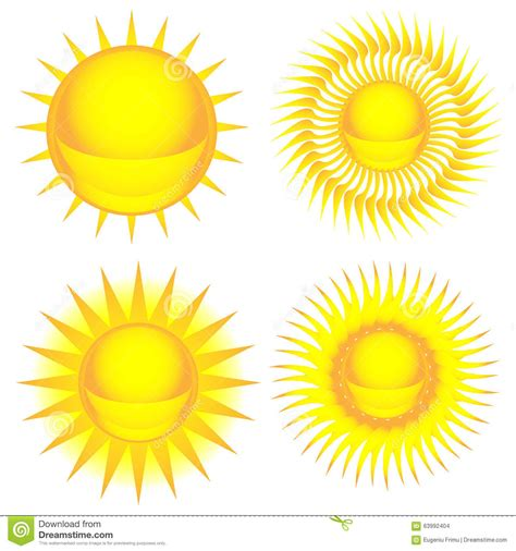 colorful sun sun colorful icon set stock vector illustration of