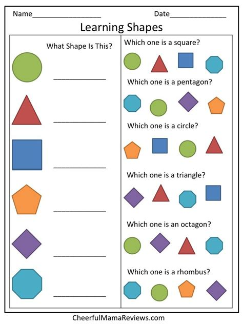 kindergarten activities on pinterest coloring pages preschool worksheet learning shapes