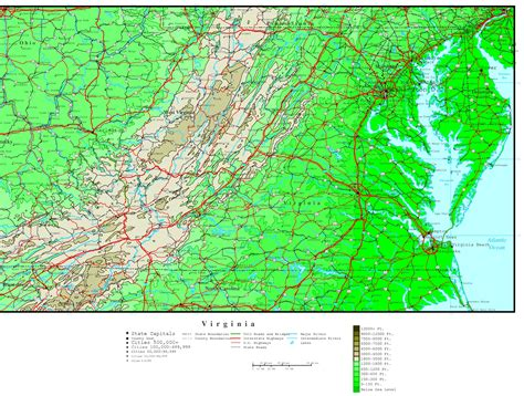map virginia virginia elevation map