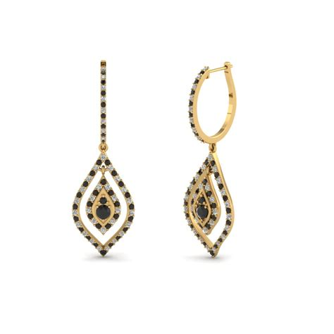 Poppy Drops Free Earrings Lets hoop drop earring with black in 14k yellow gold