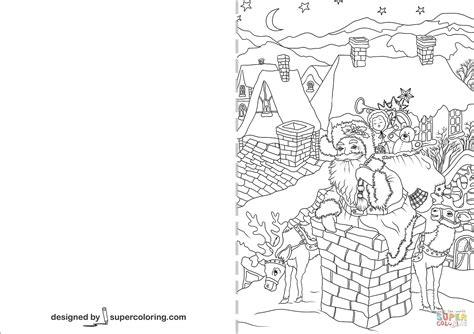 santa claus      chimney christmas card coloring page  printable
