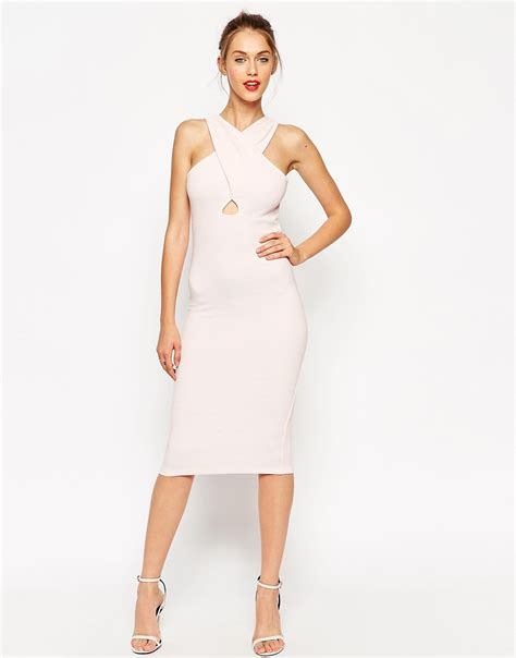 asos cut out front ribbed midi bodycon dress in pink lyst