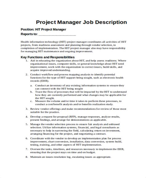 it project manager job description project manager job