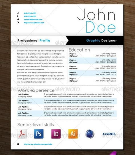 Cv Template Design Graphic Design Resume Template