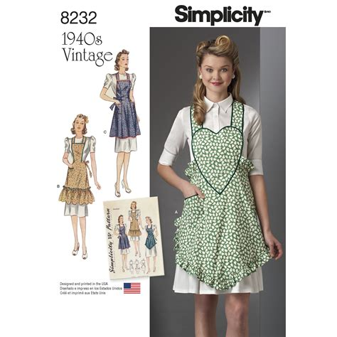 free sewing pattern victorian apron simplicity 8232 1940s vintage aprons