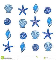Selection of blue sea shell bathroom decorations in a repeatable