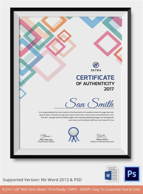 certificate of authenticity template sle certificate of authenticity template 36