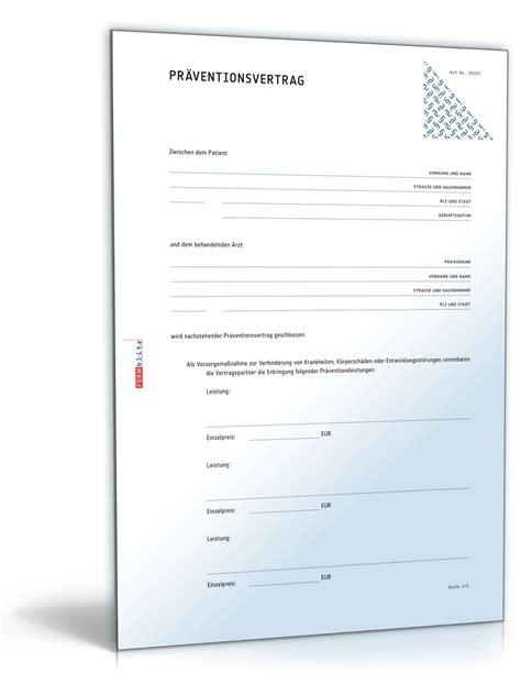 Kostenlos Musterbriefe Herunterladen Pr 228 Ventionsvertrag Muster Zum