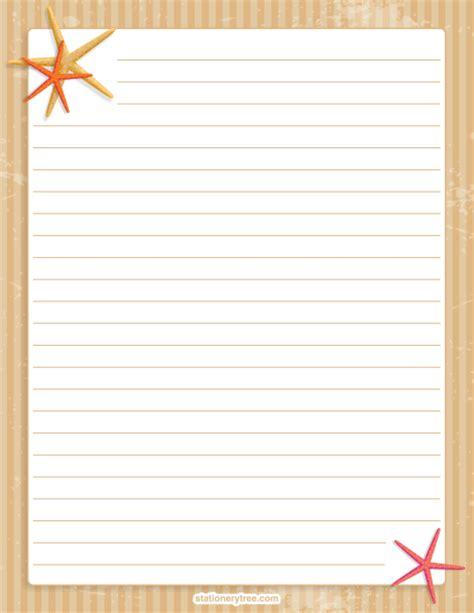 Printable Stationery No Lines | printable starfish stationery