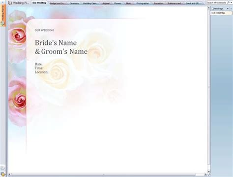 trial notebook template awesome free trial wedding planner for onenote onenote