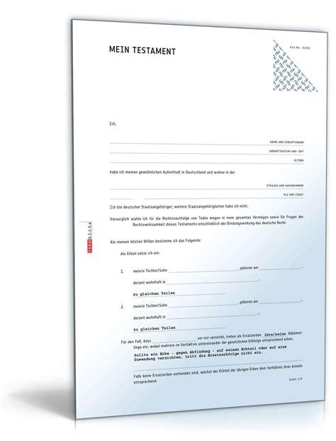 Muster Kündigung Lebensversicherung Pdf einfaches testament rechtssicheres muster zum