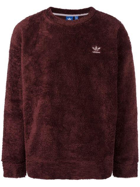 Pasangan Jaket Sweater Adidas Coklat Brown lyst adidas originals fallen future teddy sweatshirt in brown for