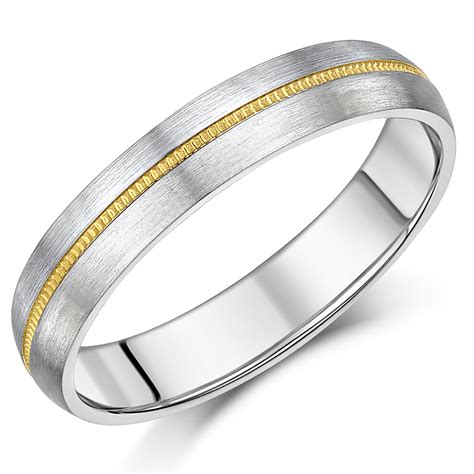 5mm Wedding Ring by 5mm Titanium Gold Millgrain Centre Wedding Ring Band
