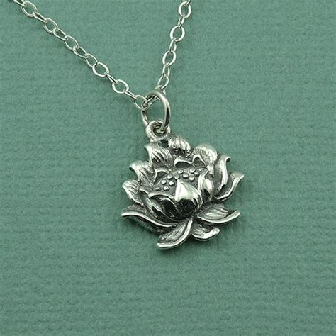 lotus flower necklace sterling silver necklace lotus