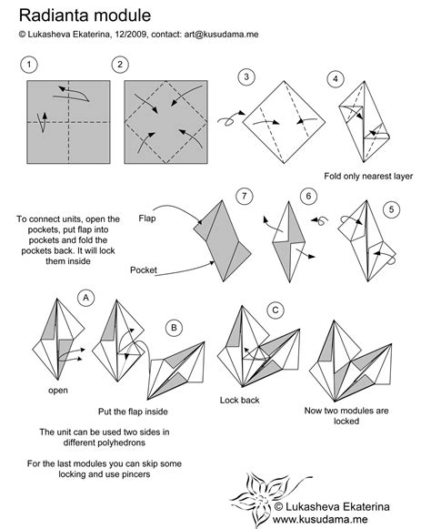 How To Make Paper Duck Step By Step - kusudama radianta module folding origami