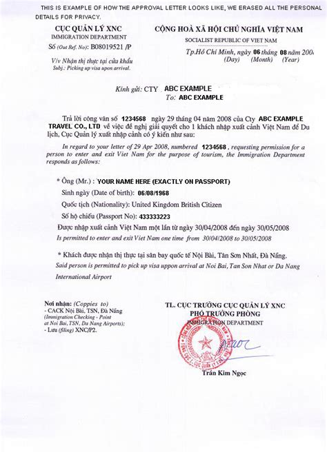 Confirmation Letter For Visa Application visa visa on arrival el visado en