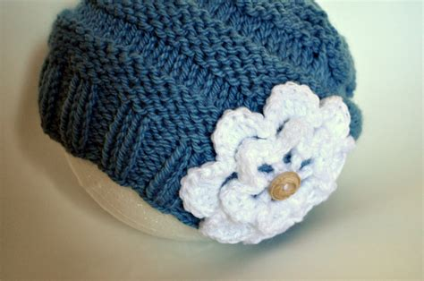 pattern for knitted flower for hat free pattern knit slouch flowered hat classy crochet