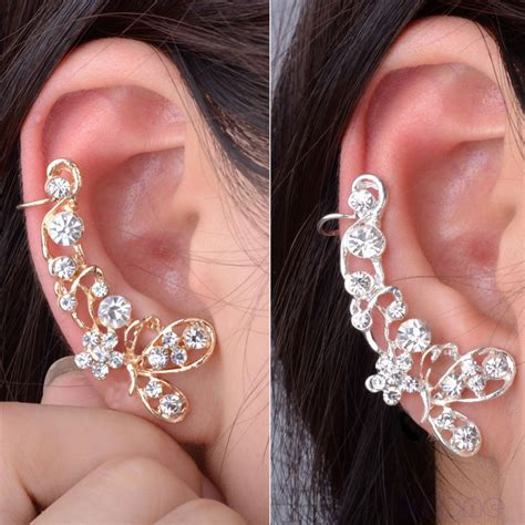 Ear Cuff Clip 1 Pc A891 aliexpress buy 1pc rhinestone butterfly
