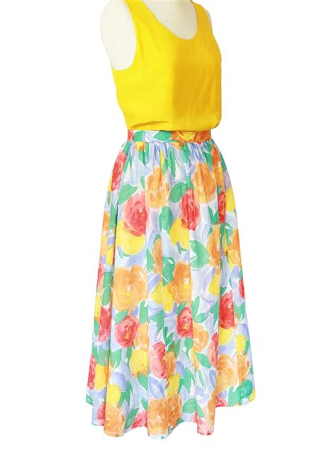 louise vintage bright colorful floral print high