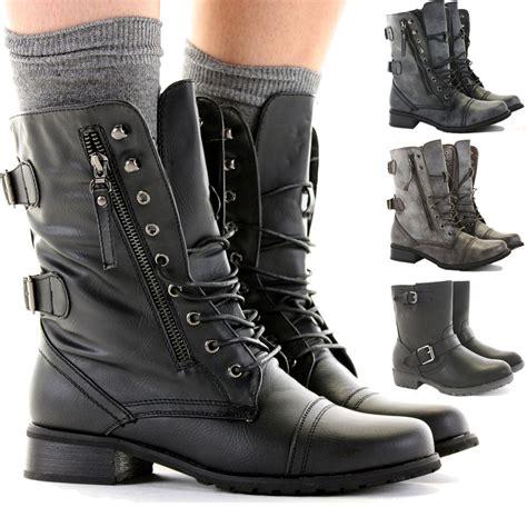 womens combat army biker flat lace up