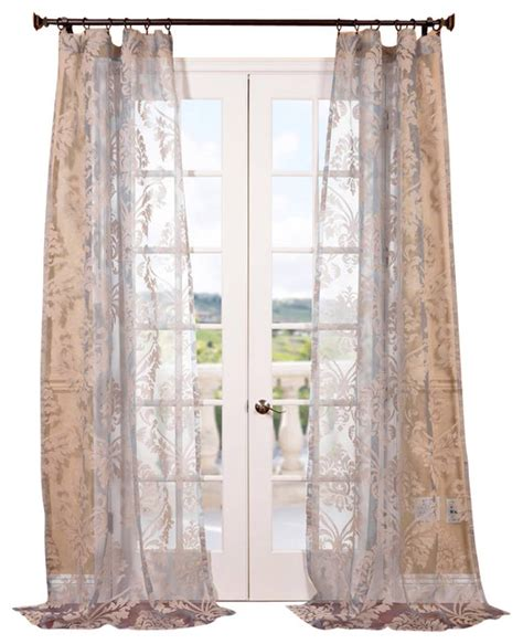 Sheer Printed Curtains Agatha Taupe Gray Patterned Sheer Curtain Single Panel Contemporary Curtains By Half Price