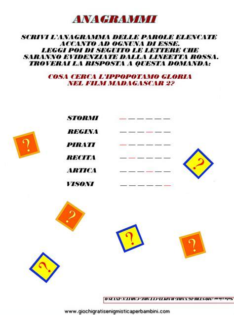 anagramma di lettere anagrammi gloria madagascar enigmistica per bambini e ragazzi