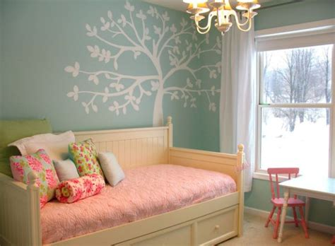 bedroom in blue and pink with the casey daybed