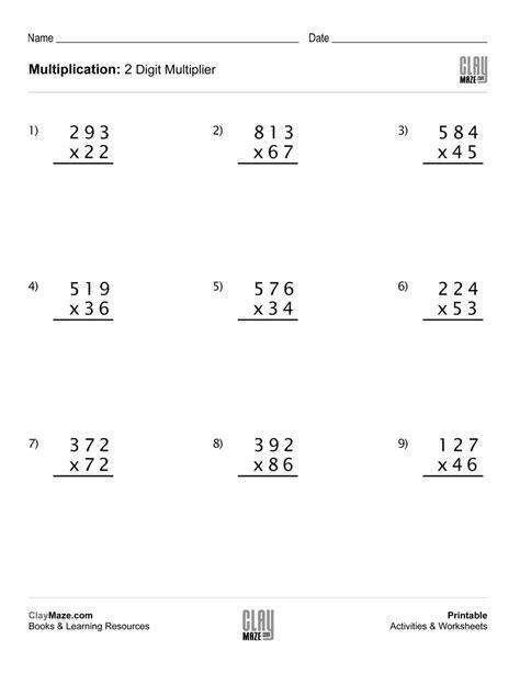 Free Printable 2 Digit By 1 Digit Multiplication Worksheets by Multiplication Using 3 Digits With 2 Digit Multiplier Set
