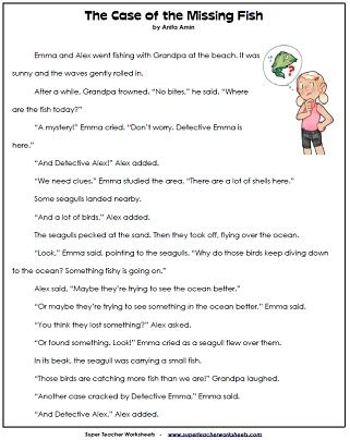loads of reading comprehension sheets. short stories with