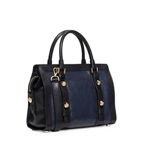 Tas Shoulder Bag Michael Kors Mk Collins Medium Cherry Authentic O michael kors collins stud medium two tone leather satchel