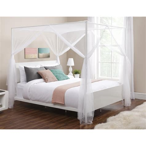 white queen canopy bed canopy queen metal bed in white 4053149