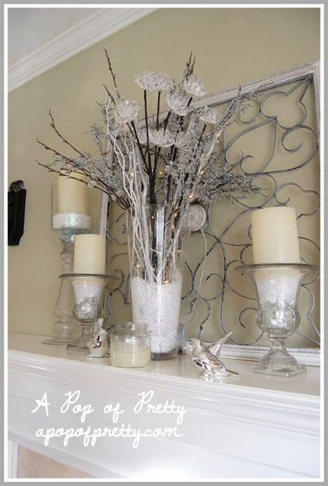 Mantel Decor My Simple Winter Mantel Lighted Branches Epsom Salt And Urn | mantel decor my simple winter mantel lighted branches