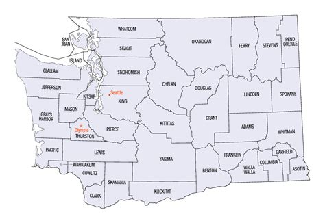 state of counties map washington county map